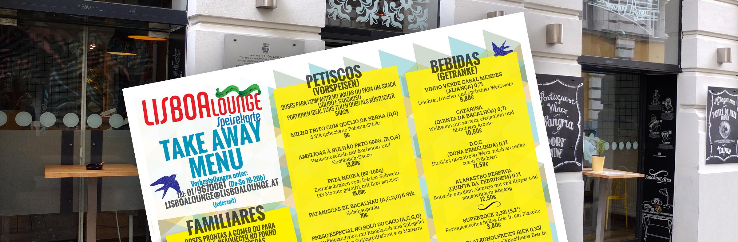 Liebe Freunde,<br>Wir bieten donnerstags – sonntags <br>von 16-20h ein besonderes Takeaway Menü an.<br>Wir freuen uns, Sie bald wieder zu sehen!<br>Liebe Grüße<br>Ihr Lisboa Lounge Team